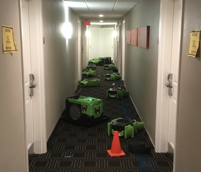 Green drying equipment in the hallway of a hotel